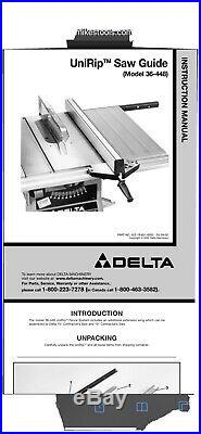 Fence Ass'y 1344610 WithFront & Rear Rails From Delta 36-650 10 Table Saw