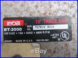 Ryobi 10 Table Saw Rip Fence Bt3000/bt3100